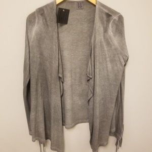 LuLu Gray Stone Wash Open-Front Cardigan